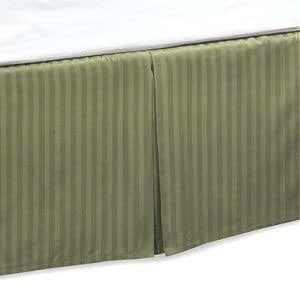 king size tailored bed skirt pleated 14 drop stripe sage green kitchen home. Black Bedroom Furniture Sets. Home Design Ideas