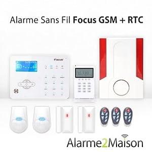 Focus - Alarme Maison Sans Fil Focus GSM + RTC - 3 à 4 Pièces