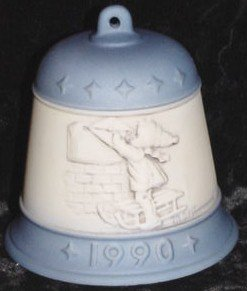 "M.J. Hummel 1990 ""Letter To Santa Claus"" Goebel Bell Collectible Ornament – Vintage Christmas"