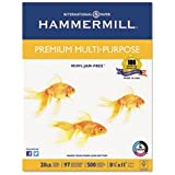 Hammermill Premium Multi-Purpose, 20-Pound, 8-1/2 by 11-Inch, 97 Bright, 500 Sheets/Ream (105910)