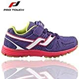 PRO TOUCH OZ PRO II VELCRO/LACE JUNIOR RUNNING TRAINERS - PURPLE/WHITE/PINK/LIME GREEN