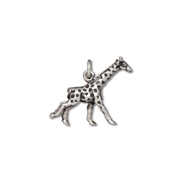 Sterling Silver Girls 18 .8mm Box Chain 3D Running Giraffe Animal Pendant Necklace