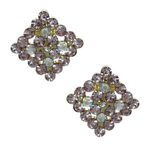 Marenda Gold Pink AB Crystal Clip On Earrings