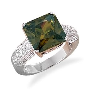 Sterling Silver Rhodium Plated Large Square Olive CZ Ring / Size 7