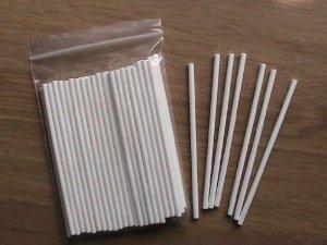 100-x-4-cm-Blanc-en-Papier-Craft-btons-pour-Cake-Pops-Btonnets-et-biscuits