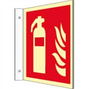 Fahnenschild-Feuerlscher-nach-ISO-7010-HIGHLIGHT-PVC-148-x-148cm-mit-2-Bohrungen--3-mm--Leuchtdichte-HIGHLIGHT-48-mcdm-gem-ISO-7010-F001
