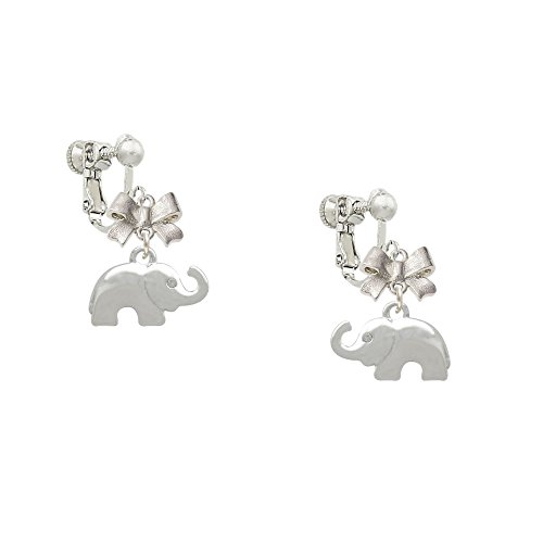 Silver Elephant with Crystal Eyes Small Emma Bow Clip On Earrings