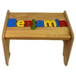 Personalized Wooden Puzzle Stools- Stool Color: White, Letter Color: Jewel, 9-12 Letters