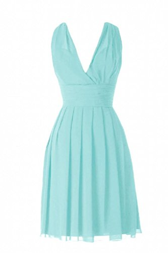 Daisyformals Knee Length V-Neck Chiffon Bridesmaid Dress(Bm2326)- Tiffany Blue