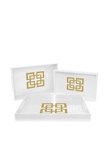 Three Hands Set of 3 Squares Trays, White