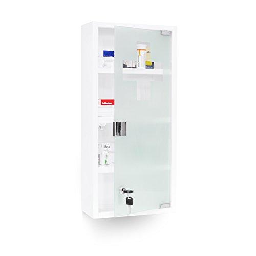 Relaxdays-Medizinschrank-EMERGENCY-XXL-Medikamentenschrank-Metall-und-Glas-Apothekerschrank-frs-Bad-HxBxT-57-x-27-x-12-cm-mit-magnetischer-Glas-Tr-4-Ablagen-fr-Medikamente-und-Verbandszeug-wei