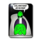 3dRose LLC lsp_28604_1 Aliens and UFOS alien Planet on Black, Single Toggle Switch