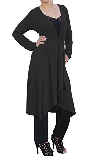 Ooh La La Long Wrap Flared Cardigan with Tie Belt (x-large 38-39, black)