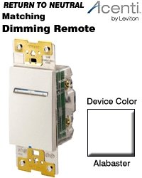 Leviton AT00R-1LW, Acenti Matching Remote Dimmer/Fan Speed Control, 3-Way or up to 5 locations, Alabaster
