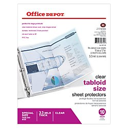 Office Depot Tabloid-Size Sheet Protectors, 11in. x 17in., Clear, Pack Of 10, 697146