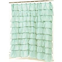 Carnation Home Fashions Carmen Crushed Voile Ruffled Tier Shower Curtain 70-Inch by 72-Inch Blue