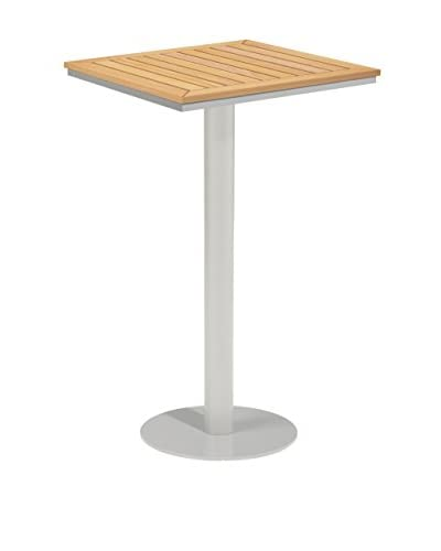 Oxford Garden Travira Square Bar Table, Powder Coated Aluminum/Teak