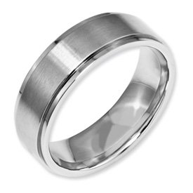 Genuine IceCarats Designer Jewelry Gift Stainless Steel Ridged Edge 7Mm Brushed And Polished Band Size 10.50