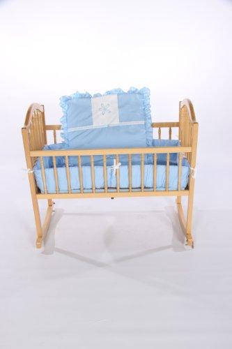Imagen de Ropa de cama de bebé muñeca sólida con apliques de flores Sábana cuna, Azul