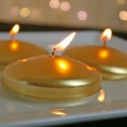 Floating Disc Candle, Unscented, 3 inch, Metallic Gold, 12 Pack (1149 Bulb compare prices)