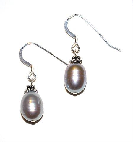 Grey Freshwater Pearl Sterling Silver Earrings - Simple and Elegant