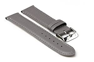 StrapsCo Grey Textured Grain Leather 16mm Watch Strap