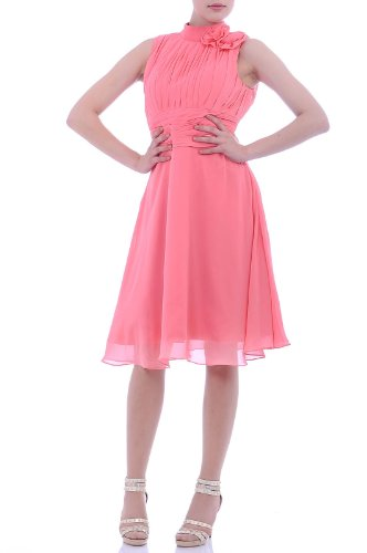 Chiffon Natrual High neck Bateau Sleeveless A line Graduation Dresses, Color Watermelon ,18W