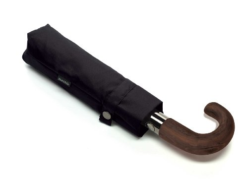 ShedRain Curved Wood Handle Umbrella, Black