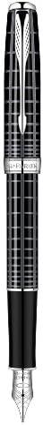 Parker Sonnet Stylo plume Pointe Moyenne Attributs Chromés 18 K Laqué Gris Intense