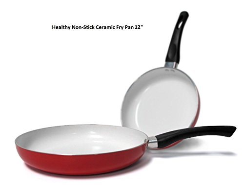 12 Inch Healthy Nonstick Ceramic Coated Frying Pan Skillet:New by WW shop