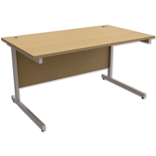 Trexus Contract Desk Rectangular Silver Legs W1400xD800xH725mm Oak