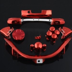 258Stickers® Xbox 360 Controller Chrome Red Abxy D-Pad Lt Rt Lb Rb Replacement Buttons Parts