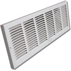 """Shoemaker 1133-30X8 30""""x8"""" Stamped Face Baseboard Return Air Grille - White"""