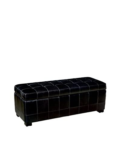 Baxton Studio Leather Storage Bench Ottoman, Black