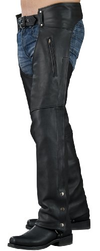 Mossi Men's Leather Chaps (Black, X-Large)