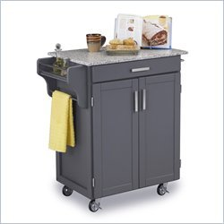 Cheap Home Styles Salt and Pepper Granite Top Kitchen Cart in Gray Finish (9001-0083)