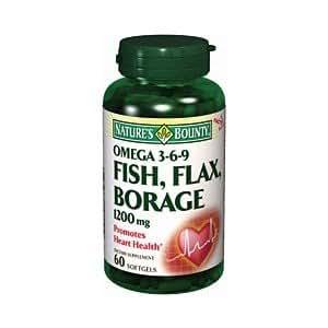 Natures bounty fish flax borage omega 369 60sg for Fish flax borage oil
