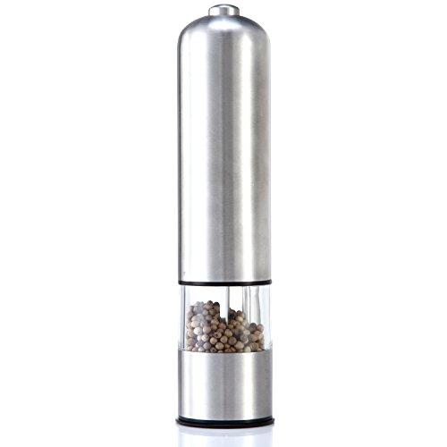 Shop405 電動ペッパー&ソルトミル ライト付き コショウ 岩塩 挽き器 キャップ付き