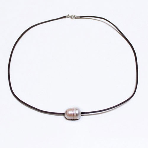 9-11mm White Freshwater Cultured Pearl With Leater Necklace,16