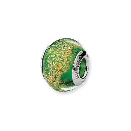 Green and Gold Murano Glass Charm