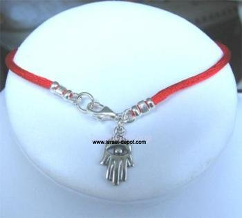Silver Kabbalah Red String Bracelet w/ Hamsa Hand Protectoin