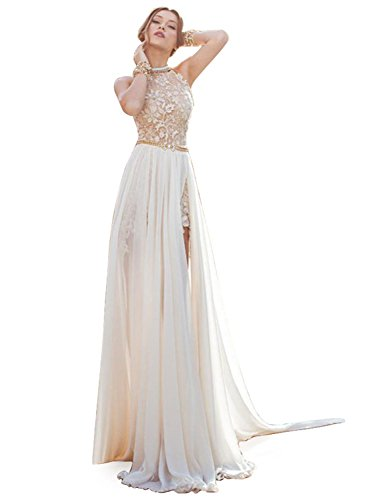 Babyonline Halter Top Formal Dress Evening Gown for Military Ball Party, Ivory, 10