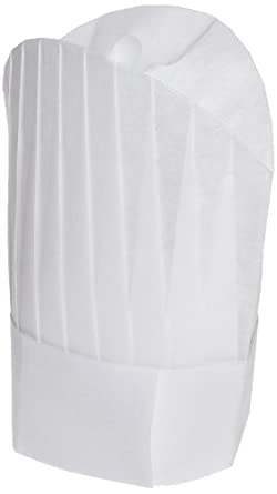 "San Jamar CHR12 Deluxe Viscose Non-Woven Flair Style Disposable Chef Hat, 12"" Height (pack of 50)"