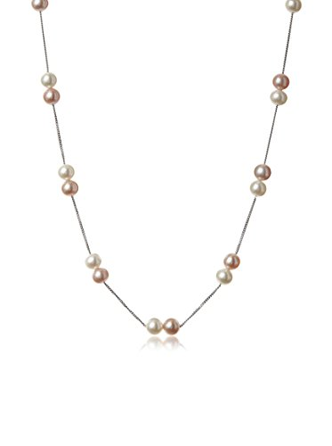 Radiance Pearl White and Pink Freshwater Double Necklace