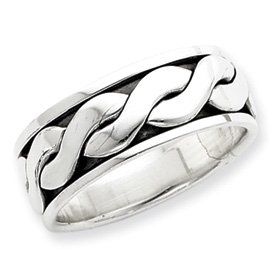 Genuine IceCarats Designer Jewelry Gift Sterling Silver Antiqued Inner Channel Spinning Band Size 6.00