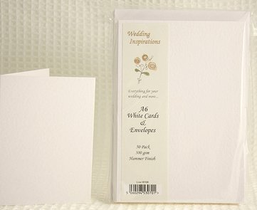 White Hammered A6 Bumper Pack of 50 Card Blanks and Envelopes