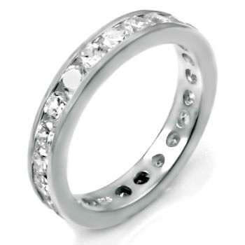 .925 Sterling Silver Eternity Ring, Expertly Crafted with High Quality Colorless Cubic Zirconia, Special Limited Time Offer Super Sale Price, Comes with a Free Gift Pouch and Gift Box