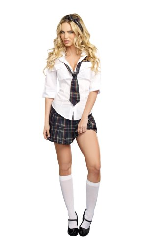 [Dreamgirl Women's Prep School Costume, Multi, Large] (Sexy School Uniform)