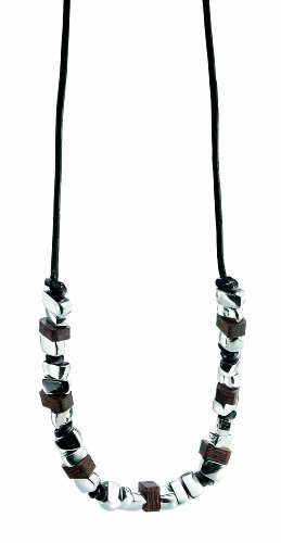 Fred Bennett Sterling Silver Mens Irregular Silver and Wood Beads on Black Necklace of 45cm N2688