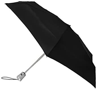 Totes Ladies Signature Flat Auto Open Auto Close Compact Umbrella,Black,One Size